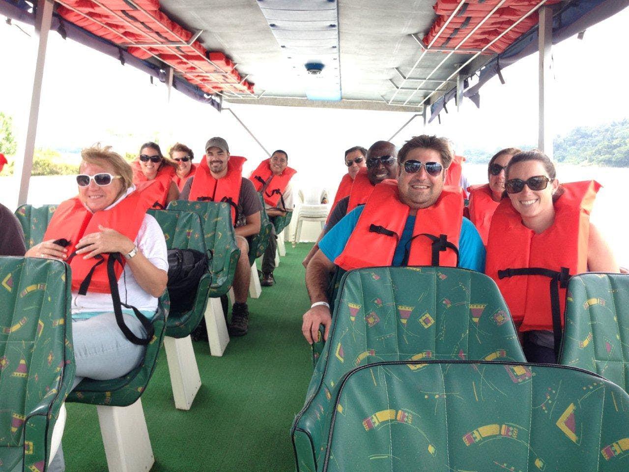 Enjoying a Boat Tour at Arenal Lake.