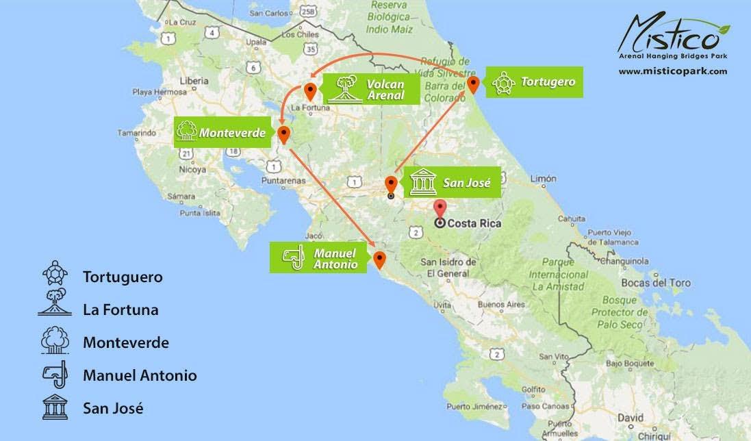Top 5 destinations in Costa Rica map.