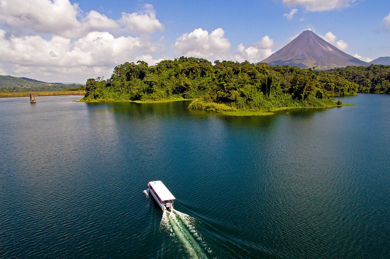 Taxi Boat Taxi Crossing the Arenal Lake in Costa Rica